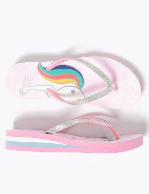 Детские сандалии с блестящими ремешками на танкетке Marks & Spencer. Цвет: розовый микс