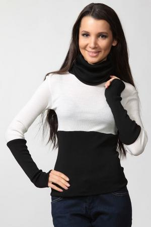 Пуловер с высоким воротом Bona Dea. Цвет: бело-черный