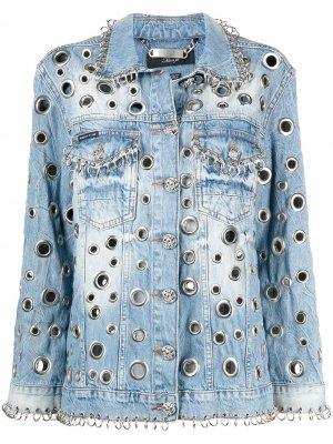 Джинсовая куртка с металлическим декором Philipp Plein. Цвет: синий