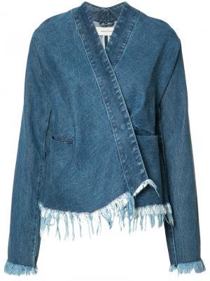 Джинсовая куртка с необработанными краями Marquesalmeida Marques'almeida. Цвет: синий