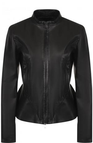 Приталенная кожаная куртка с воротником-стойкой DROMe. Цвет: черный