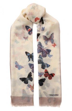 Шерстяная шаль Valentino. Цвет: бежевый