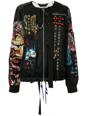 Куртка бомбер с вышивкой Diesel. Цвет: черный