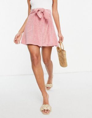 Махровая мини-юбка с завязкой нежно-розового цвета -Розовый цвет ASOS DESIGN