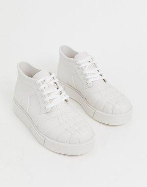 Белые высокие кроссовки на массивной подошве -Белый Melissa