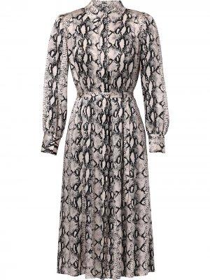 Платье-рубашка с поясом и змеиным принтом Jason Wu. Цвет: нейтральные цвета