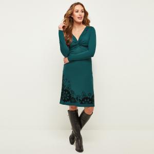 Платье облегающее с V-образным декольте и длинными рукавами JOE BROWNS. Цвет: зеленый