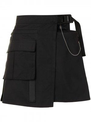 Юбка мини асимметричного кроя с карманами карго Ground Zero. Цвет: черный