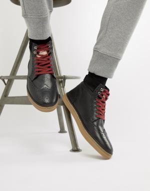 Черные кожаные ботинки-броги Original Penguin. Цвет: черный