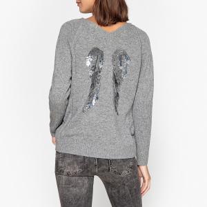 Пуловер с V-образным вырезом из тонкого трикотажа EBENE BERENICE. Цвет: серый