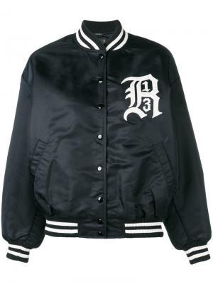 Куртка-бомбер с вышитым логотипом R13. Цвет: черный