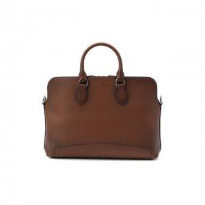 Кожаная сумка для ноутбука Ralph Lauren. Цвет: коричневый