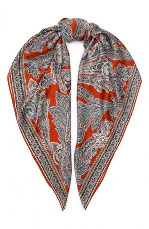 Шелковый платок Michele Binda. Цвет: оранжевый