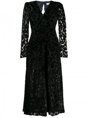 Платье миди с V-образным вырезом Self-Portrait. Цвет: черный