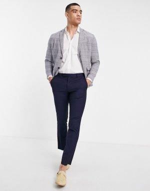 Голубой пиджак узкого кроя из ткани с добавлением льна Selected Homme