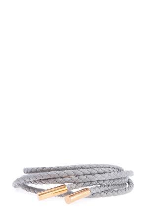 Тонкий кожаный плетенный пояс с металлическими деталями AGNONA. Цвет: серый