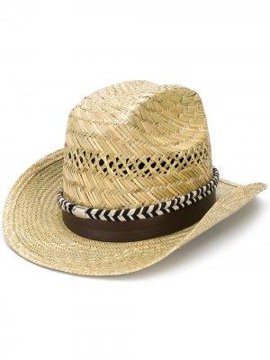 Плетеная шляпа-федора с лентой Saint Laurent. Цвет: нейтральные цвета