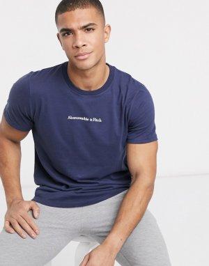 Синяя футболка с круглым вырезом и логотипом -Синий Abercrombie & Fitch
