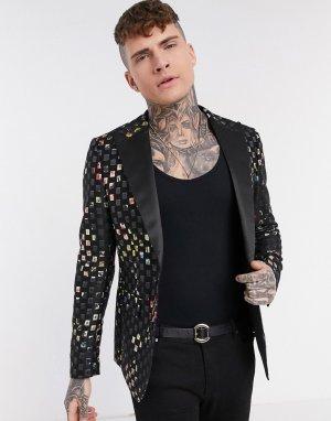 Узкий пиджак с эффектом металлик -Черный цвет Devils Advocate