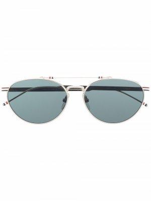 Солнцезащитные очки-авиаторы с полосками RWB Thom Browne Eyewear. Цвет: серебристый