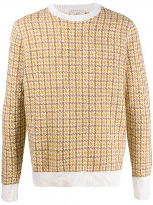 Джемпер с длинными рукавами и узором в ломаную клетку Altea. Цвет: желтый