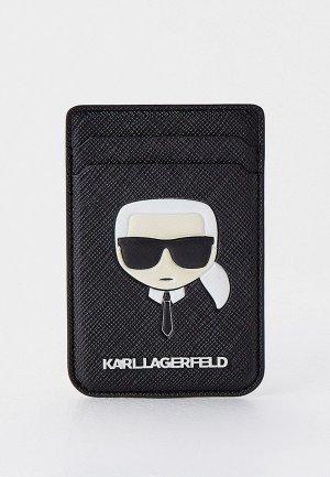 Кредитница Karl Lagerfeld Магн. бумажник Wallet Cardslot Magsafe Saffiano Karls head Black. Цвет: черный