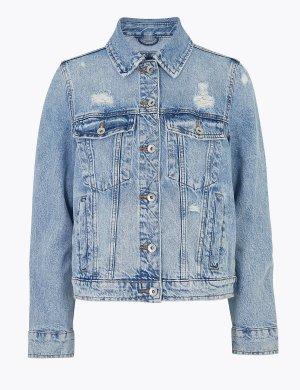 Джинсовая куртка с эффектом потертости M&S Collection. Цвет: светлый индиго