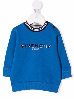 Толстовка с логотипом Givenchy Kids. Цвет: синий