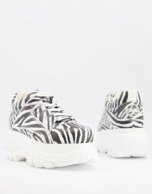 Кожаные кроссовки на массивной плоской платформе с зебровым принтом -Многоцветный Buffalo