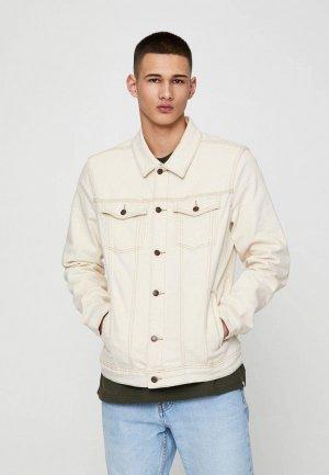 Куртка джинсовая Pull&Bear. Цвет: белый