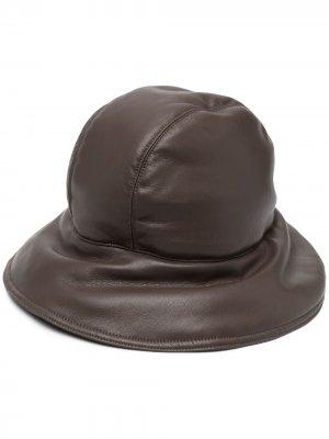 Дутая шляпа из искусственной кожи Nanushka. Цвет: коричневый
