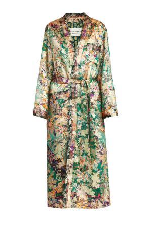 Пальто из шелкового жаккарда в лиственно-зеленом оттенке с поясом ETRO. Цвет: мульти