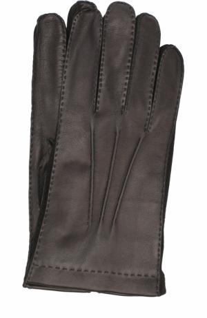 Кожаные перчатки с подкладкой из смеси кашемира и шелка Loro Piana. Цвет: черный