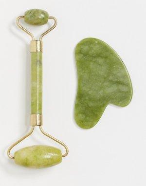 Набор из нефритового ролика-массажера и скребка гуаша -Зеленый цвет Zoe Ayla