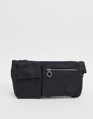 Сумка-кошелек на пояс -Черный цвет Bolongaro Trevor
