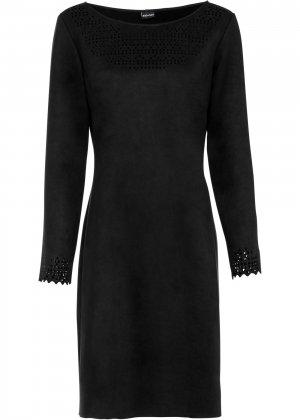 Платье из искусственной замши bonprix. Цвет: черный