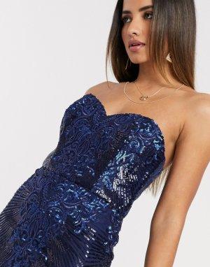 Платье миди с вышивкой и вырезом сердечком -Серебристый Goddiva