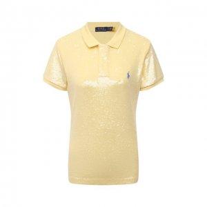 Хлопковое поло с пайетками Polo Ralph Lauren. Цвет: жёлтый