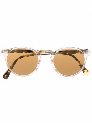 Солнцезащитные очки Gregory в круглой оправе Oliver Peoples. Цвет: желтый