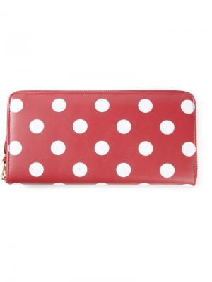 Длинный кошелёк в горох Comme Des Garçons Wallet. Цвет: красный