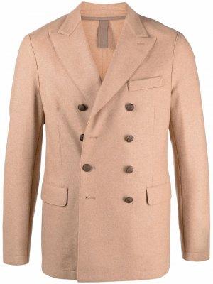 Двубортный пиджак Eleventy. Цвет: коричневый