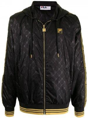 Куртка с капюшоном и монограммой Fila. Цвет: черный