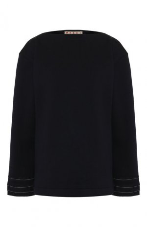 Шерстяной пуловер Marni. Цвет: темно-синий