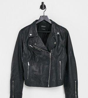 Кожаная байкерская куртка -Черный Stradivarius
