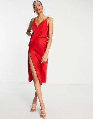 Платье-комбинация миди с драпировкой спереди и юбкой на запахе -Красный ASOS DESIGN