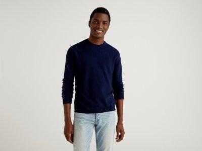 Джемпер из 100% шерсти Benetton. Цвет: синий