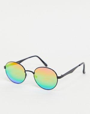 Круглые солнцезащитные очки с радужными зеркальными стеклами -Многоцветный ASOS DESIGN