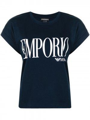 Футболка с логотипом Emporio Armani. Цвет: синий
