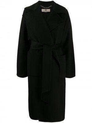 Пальто миди с поясом Elisabetta Franchi. Цвет: черный