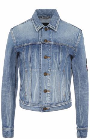 Джинсовая куртка с потертостями и нашивкой Saint Laurent. Цвет: синий